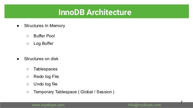 InnoDB Architecture ● Structures In Memory ○ Buffer Pool ○ Log Buffer ● Structures on disk ○ Tablespaces ○ Redo log File ○...