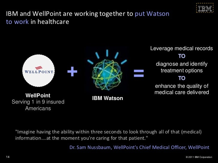 IBM and WellPoint are working together to put Watsonto work in healthcare                                                 ...