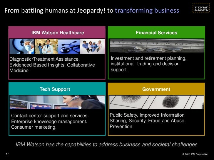 From battling humans at Jeopardy! to transforming business               IBM Watson Healthcare                       Finan...