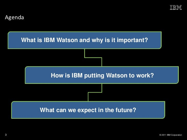 Agenda     What is IBM Watson and why is it important?               How is IBM putting Watson to work?           What can...