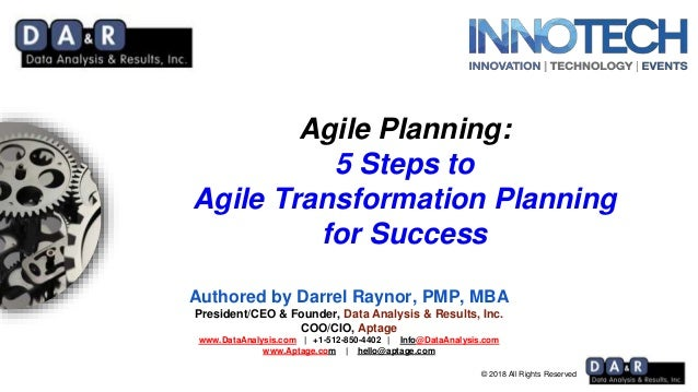 © 2018 All Rights Reserved Agile Planning: 5 Steps to Agile Transformation Planning for Success Authored by Darrel Raynor,...