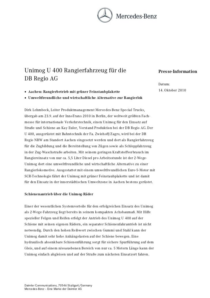 Unimog U 400 Rangierfahrzeug für die                                             Presse-InformationDB Regio AG            ...