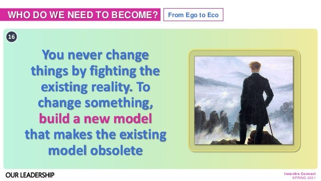 WHO DO WE NEED TO BECOME? From Ego to Eco OUR LEADERSHIP 16 You never change things by fighting the existing reality. To c...