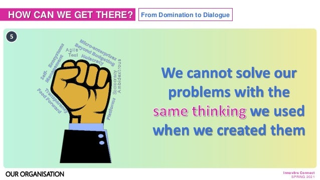 HOW CAN WE GET THERE? From Domination to Dialogue 5 OUR ORGANISATION We cannot solve our problems with the we used when we...