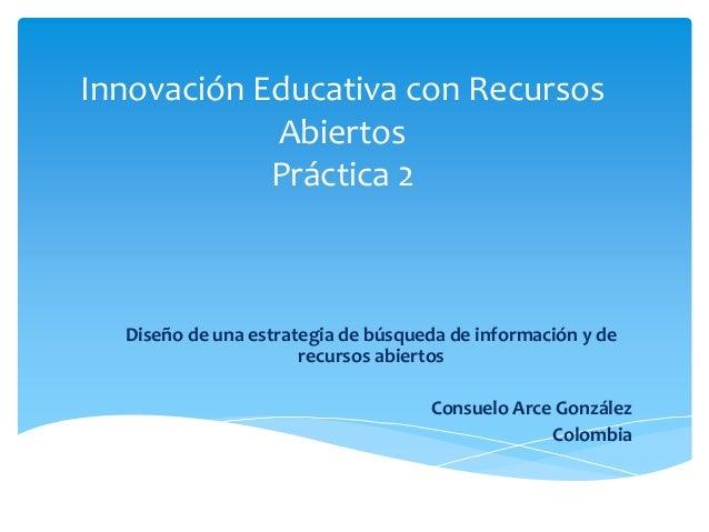 Innovación Educativa con Recursos  Abiertos  Práctica 2  Diseño de una estrategia de búsqueda de información y de  recurso...