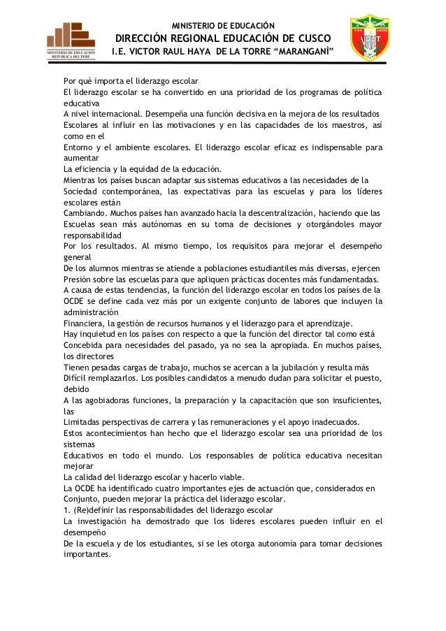 """MINISTERIO DE EDUCACIÓN             DIRECCIÓN REGIONAL EDUCACIÓN DE CUSCO             I.E. VICTOR RAUL HAYA DE LA TORRE """"M..."""