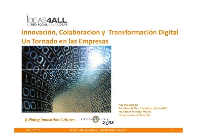 Innovación, Colaboracion y Transformación Digital Un Tornado en las Empresas © 2013 Global ideas4all SL - Confidential & P...