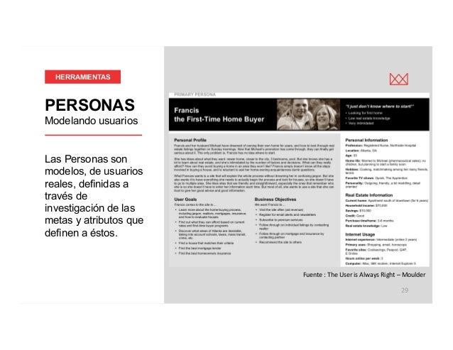 victormgonzalez.me P 29 Las Personas son modelos, de usuarios reales, definidas a través de investigación de las metas y ...