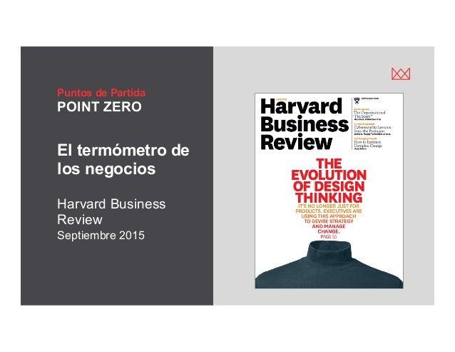 victormgonzalez.me Puntos de Partida POINT ZERO El termómetro de los negocios Harvard Business Review Septiembre 2015