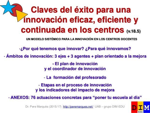 Dr. Pere Marquès (2015/17) http://peremarques.net/ UAB – grupo DIM-EDU Claves del éxito para una innovación eficaz, eficie...