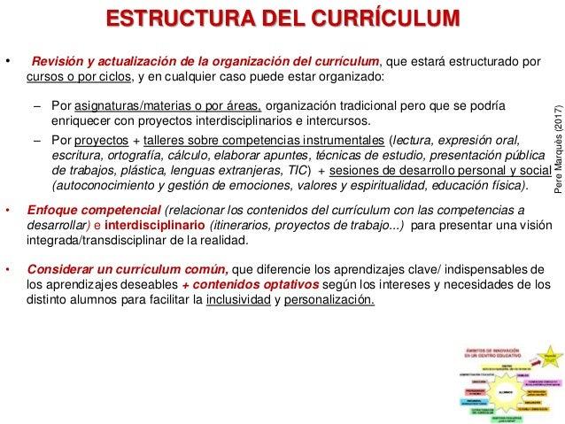 ESTRUCTURA DEL CURRÍCULUM • Revisión y actualización de la organización del currículum, que estará estructurado por cursos...