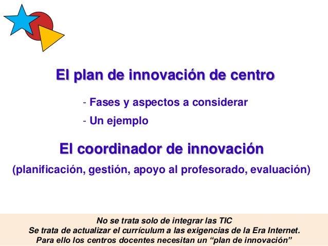 El plan de innovación de centro Pere Marquès (2015) - Fases y aspectos a considerar - Un ejemplo El coordinador de innovac...