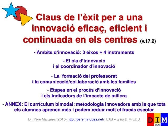 Dr. Pere Marquès (2015) http://peremarques.net/ UAB – grup DIM-EDU Claus de l'èxit per a una innovació eficaç, eficient i ...