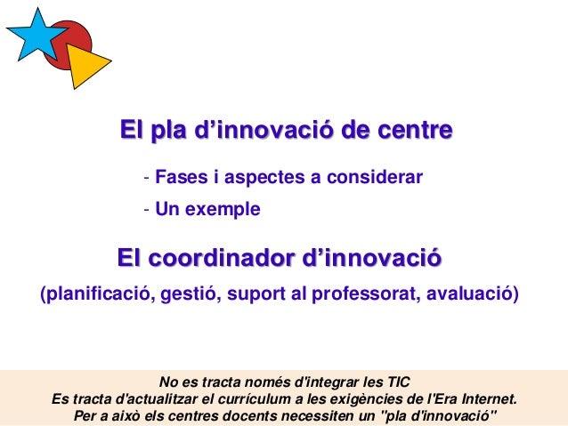 El pla d'innovació de centre Pere Marquès (2015) - Fases i aspectes a considerar - Un exemple El coordinador d'innovació (...