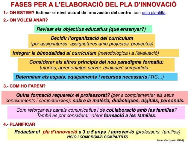 Pere Marquès (2014) FASES PER A L'ELABORACIÓ DEL PLA D'INNOVACIÓ Revisar els objectius educatius (què ensenyar?) Decidir l...