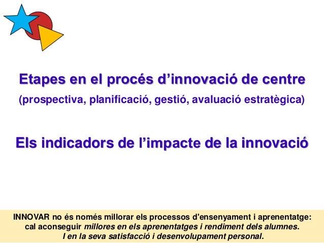 Etapes en el procés d'innovació de centre (prospectiva, planificació, gestió, avaluació estratègica) Els indicadors de l'i...