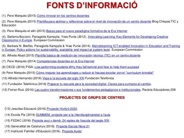 FONTS D'INFORMACIÓ (1). Pere Marquès (2015) Cómo innovar en los centros docentes (2). Pere Marquès (2015) Plantilla para e...