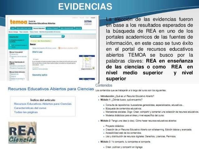 EVIDENCIAS La elección de las evidencias fueron en base a los resultados esperados de la búsqueda de REA en uno de los por...