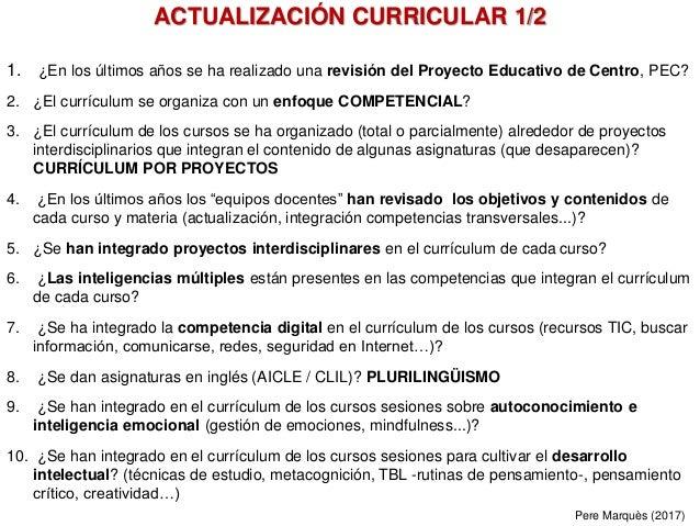 1. ¿En los últimos años se ha realizado una revisión del Proyecto Educativo de Centro, PEC? 2. ¿El currículum se organiza ...