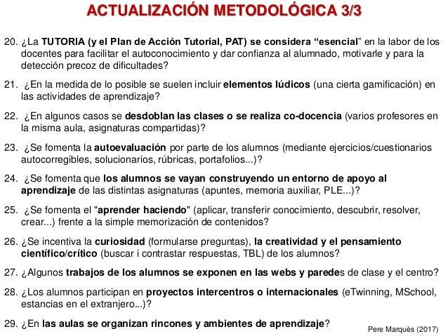 """20. ¿La TUTORIA (y el Plan de Acción Tutorial, PAT) se considera """"esencial"""" en la labor de los docentes para facilitar el ..."""