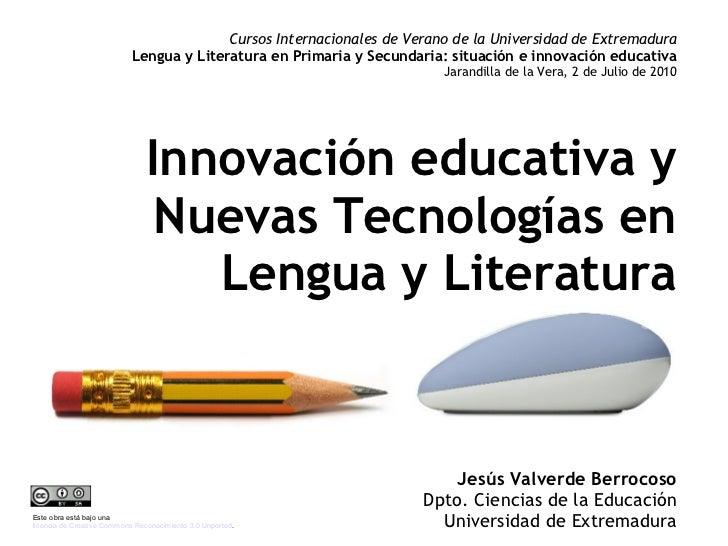Cursos Internacionales de Verano de la Universidad de Extremadura                            Lengua y Literatura en Primar...