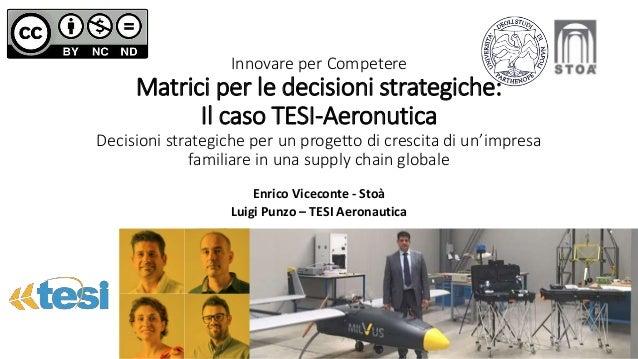 Innovare per Competere Matrici per le decisioni strategiche: Il caso TESI-Aeronutica Decisioni strategiche per un progetto...