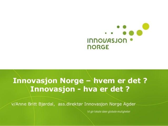 Innovasjon Norge – hvem er det ?    Innovasjon - hva er det ?v/Anne Britt Bjørdal, ass.direktør Innovasjon Norge Agder