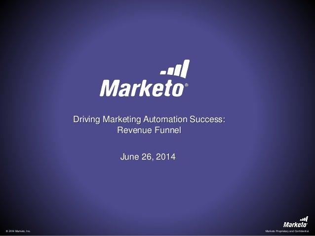 © 2014 Marketo, Inc. Marketo Proprietary and Confidential. Driving Marketing Automation Success: Revenue Funnel June 26, 2...
