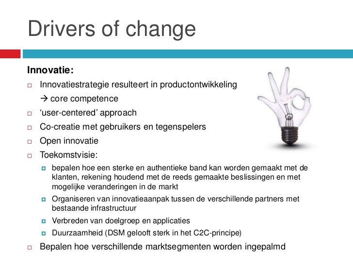 """Drivers of changeInnovatie:   Innovatiestrategie resulteert in productontwikkeling     core competence   """"user-centered..."""
