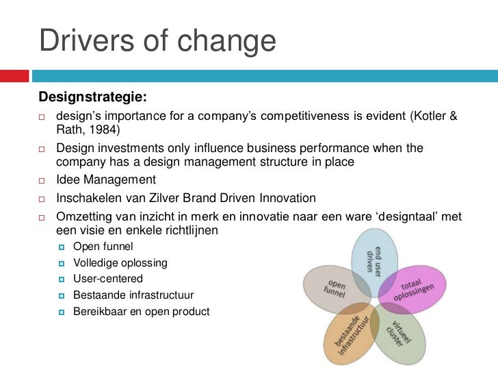"""Drivers of changeDesignstrategie:   design""""s importance for a company""""s competitiveness is evident (Kotler &    Rath, 198..."""