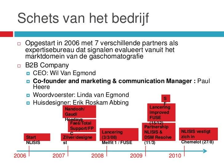 Schets van het bedrijf    Opgestart in 2006 met 7 verschillende partners als     expertisebureau dat signalen evalueert v...