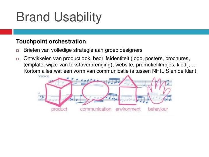 Brand UsabilityTouchpoint orchestration   Briefen van volledige strategie aan groep designers   Ontwikkelen van productl...