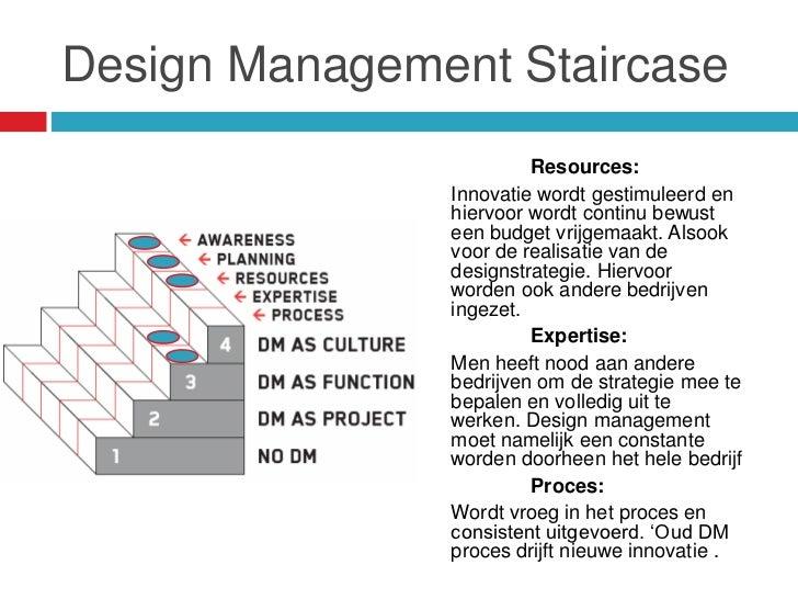 Design Management Staircase                        Resources:               Innovatie wordt gestimuleerd en               ...