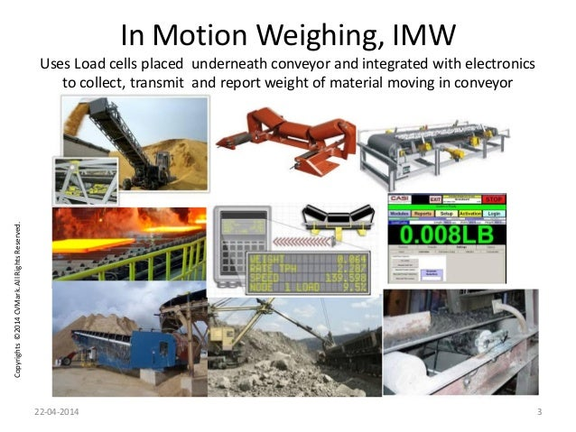 Copyrights©2014CVMark.AllRightsReserved. In Motion Weighing, IMW Uses Load cells placed underneath conveyor and integrated...