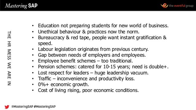 • Education not preparing students for new world of business. • Unethical behaviour & practices now the norm. • Bureaucrac...