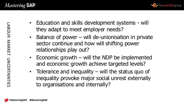 • Education and skills development systems - will they adapt to meet employer needs? • Balance of power – will de-unionisa...