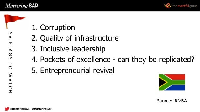 1. Corruption 2. Quality of infrastructure 3. Inclusive leadership 4. Pockets of excellence - can they be replicated? 5. E...