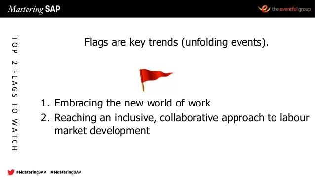 Flags are key trends (unfolding events). 1. Embracing the new world of work 2. Reaching an inclusive, collaborative approa...