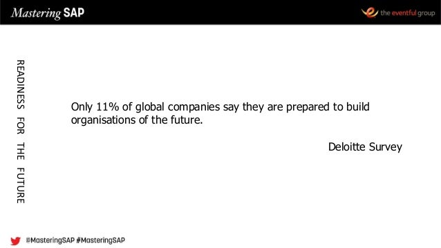Only 11% of global companies say they are prepared to build organisations of the future. Deloitte Survey READINESSFORTHEFU...
