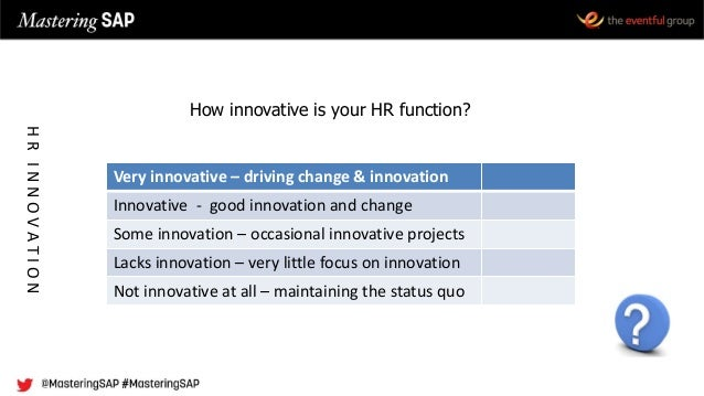 How innovative is your HR function? Very innovative – driving change & innovation Innovative - good innovation and change ...