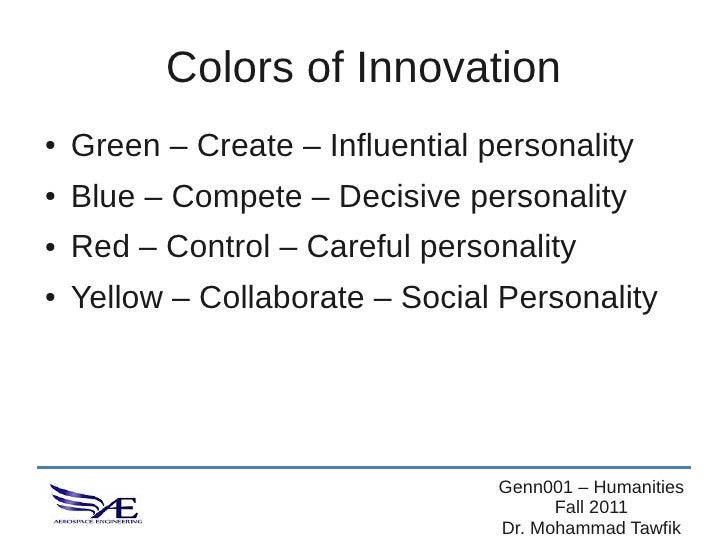 Colors of Innovation●   Green – Create – Influential personality●   Blue – Compete – Decisive personality●   Red – Control...