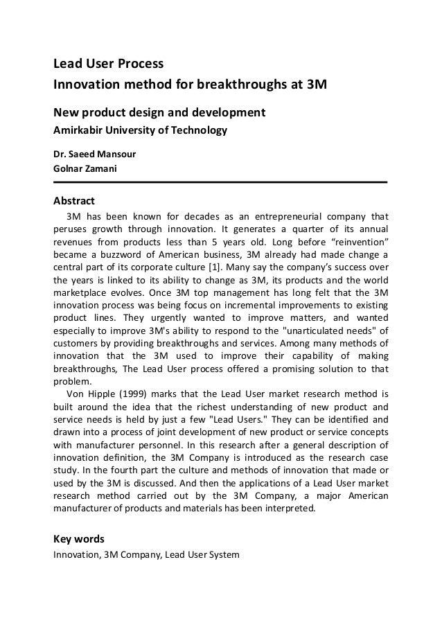 Lead User ProcessInnovation method for breakthroughs at 3MNew product design and developmentAmirkabir University of Techno...