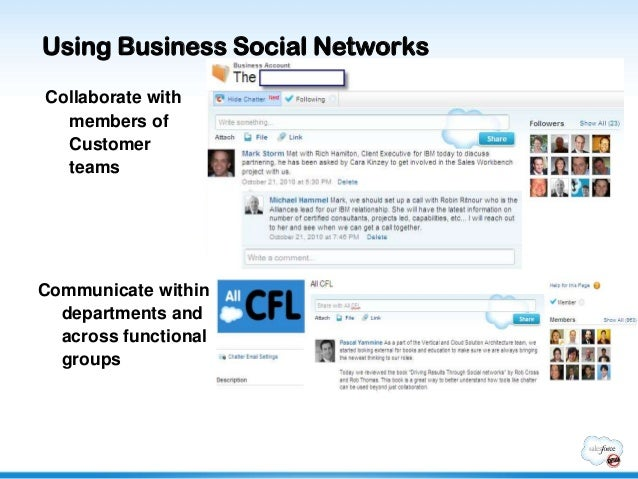 Using Business Social NetworksCollaborate with  members of  Customer  teamsCommunicate within  departments and  across fun...