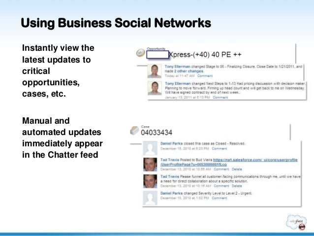 Using Business Social NetworksInstantly view thelatest updates tocriticalopportunities,cases, etc.Manual andautomated upda...