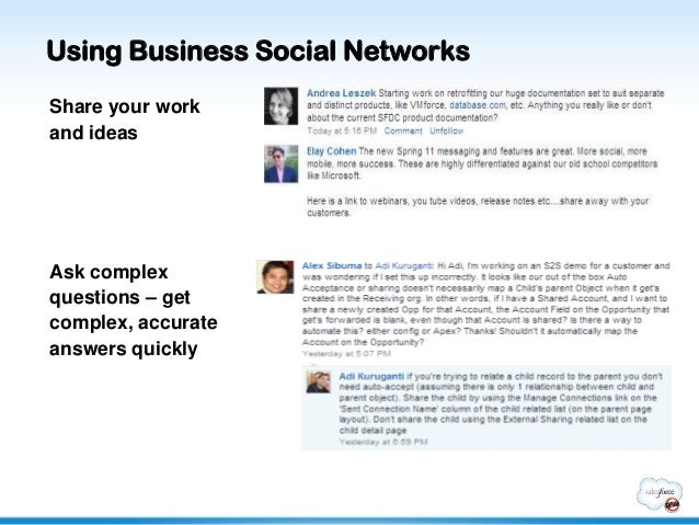 Using Business Social NetworksShare your workand ideasAsk complexquestions – getcomplex, accurateanswers quickly