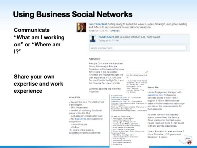 """Using Business Social NetworksCommunicate""""What am I workingon"""" or """"Where amI?""""Share your ownexpertise and workexperience"""
