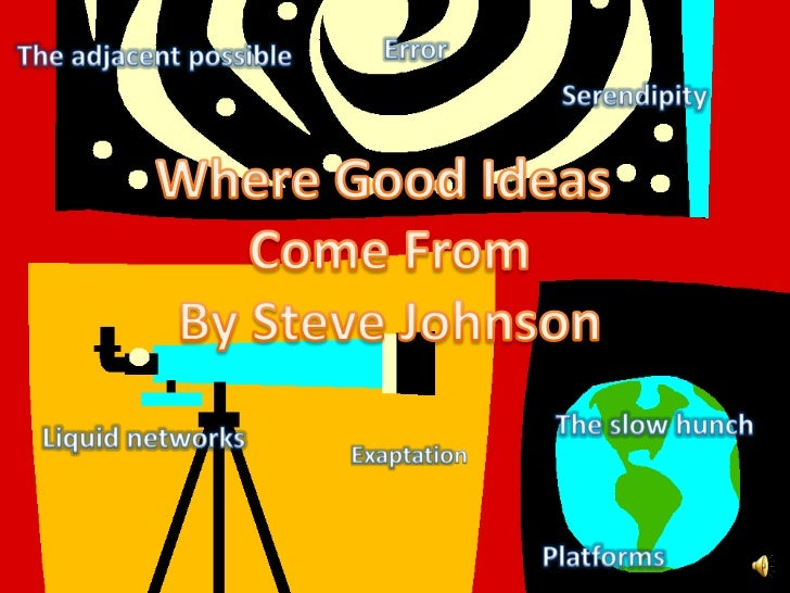 Error<br />The adjacent possible<br />Serendipity<br />Where Good Ideas <br />Come From<br />By Steve Johnson<br />The slo...