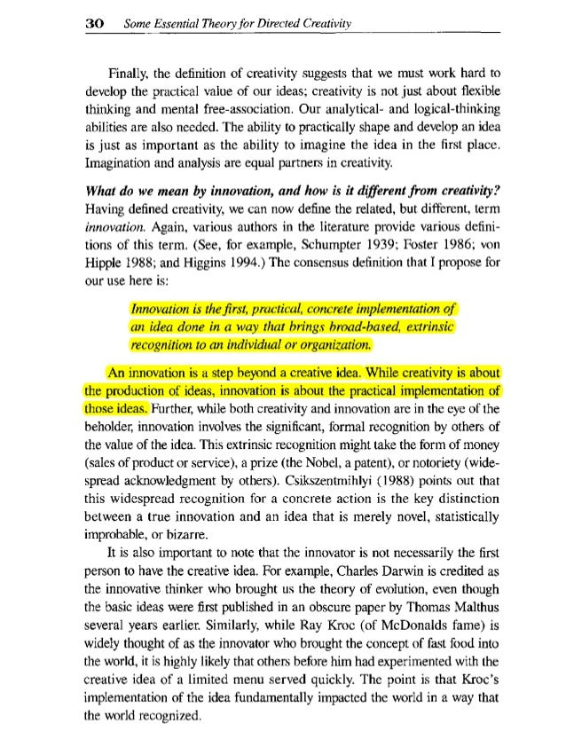 definition of creativity by different authors pdf