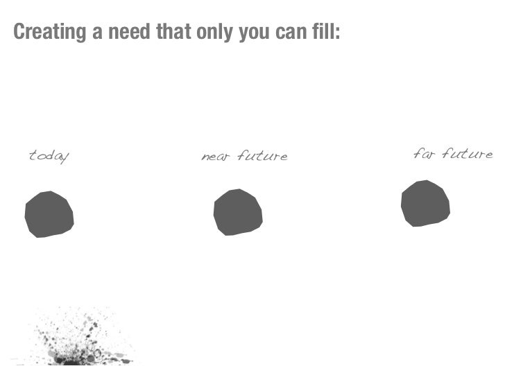 Creating a need that only you can fill: today               near future         far future