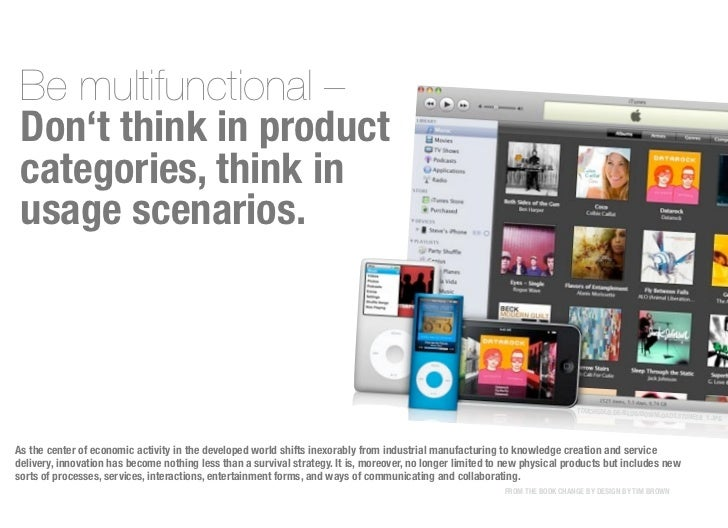Be multifunctional – Don't think in product categories, think in usage scenarios.                                         ...